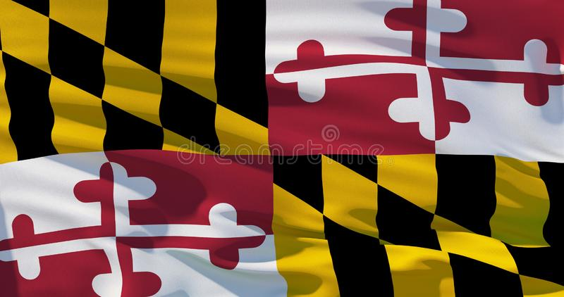 Flag of Maryland, Satin flag, three dimensional render, 4K quality vector illustration