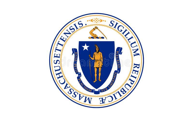 Flag of Massachusetts, USA. Flag of Massachusetts officially the Commonwealth of Massachusetts, is the most populous state in the New England part of the stock photo