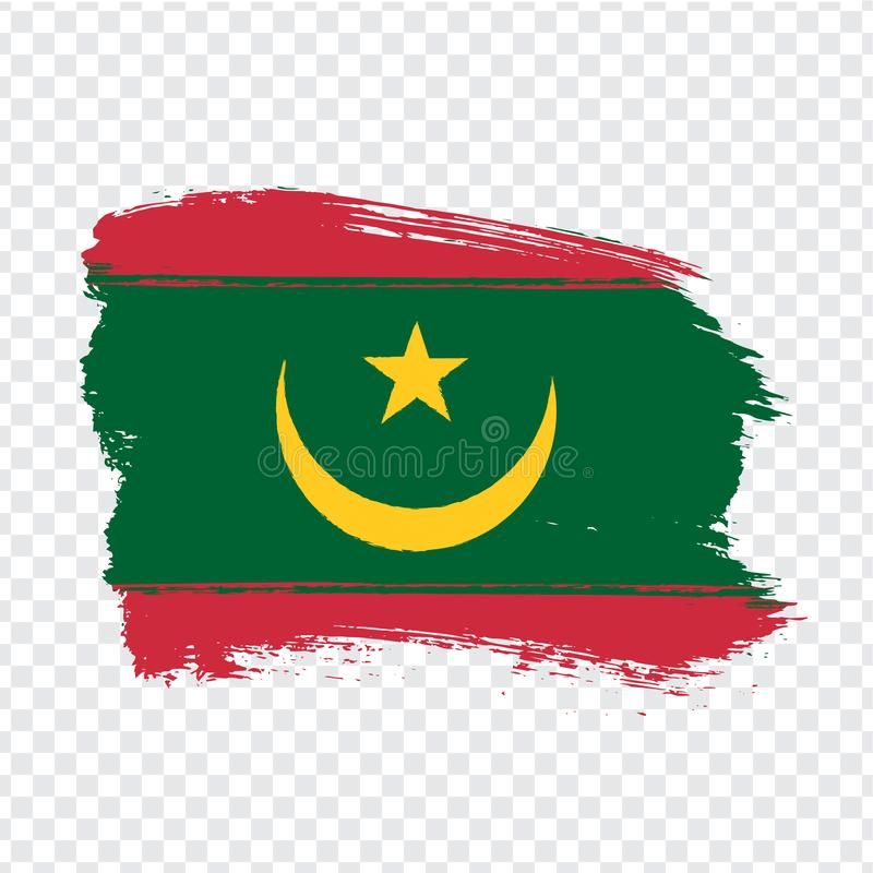 Flag Mauritania from brush strokes. Flag Islamic Republic of Mauritania on transparent background for your web site design, logo,. App, UI. Stock vector.  EPS10 vector illustration
