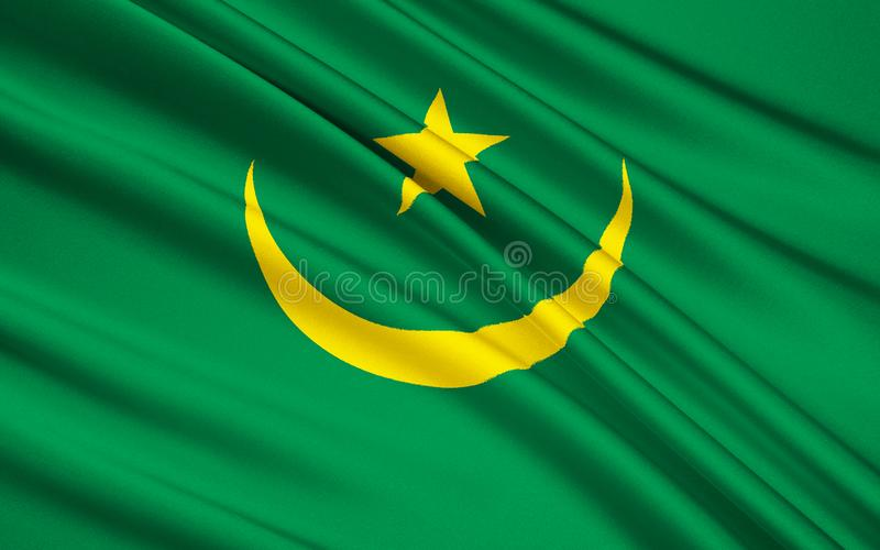 Flag of Mauritania, Nouakchott. Flag of Mauritania - The flag was adopted on 1st April 1959. It was introduced under the instructions of Moktar Ould Daddah, and stock illustration