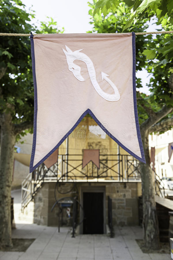 Flag medieval town. Detail of a medieval decoration at a party stock photography