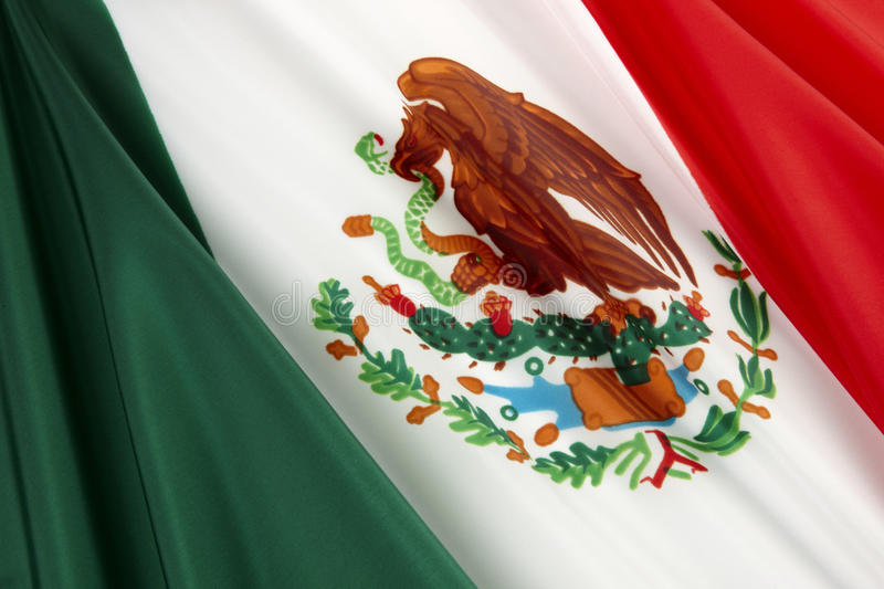 Flag of Mexico. Close-up shot of wavy Mexican flag royalty free stock photography