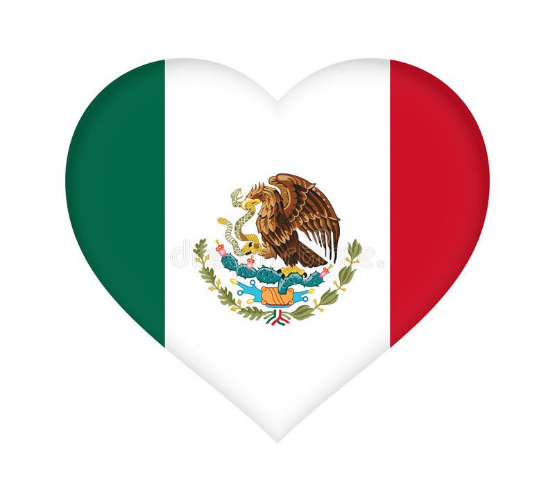 Flag of Mexico Heart vector illustration