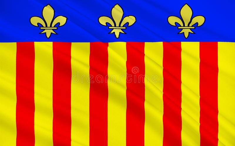 Flag of Millau, France. Flag of Millau is a commune in the Aveyron department in the French Midi-Pyrenees region in southern France royalty free illustration