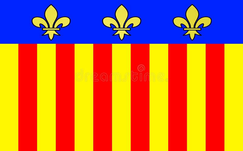 Flag of Millau, France. Flag of Millau is a commune in the Aveyron department in the French Midi-Pyrenees region in southern France stock illustration
