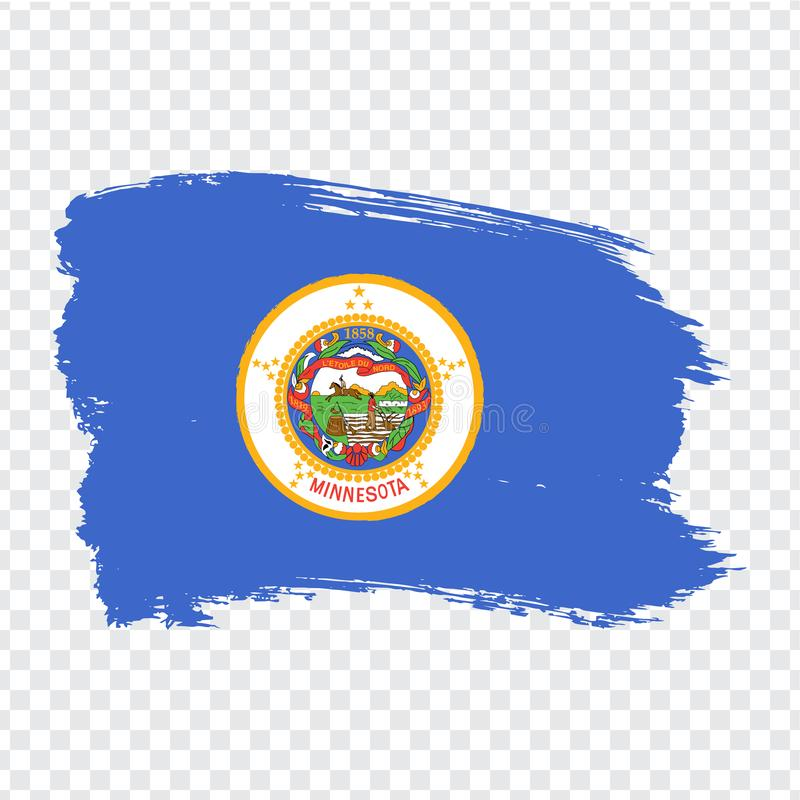 Flag of  Minnesota from brush strokes. United States of America.  Flag Minnesota on transparent background for your web site desig. N, logo, app, UI. Stock vector illustration