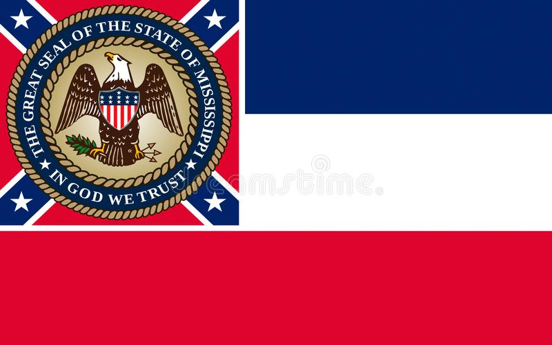 Flag of Mississippi, USA stock image