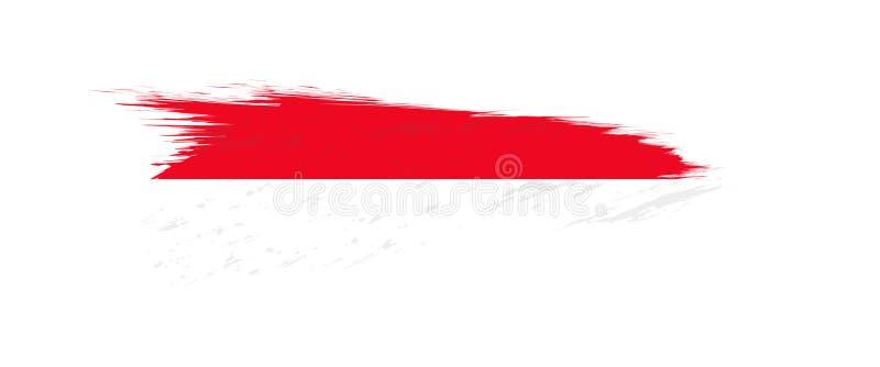 Flag of Monaco in grunge brush stroke royalty free illustration