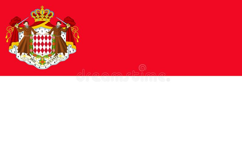 Flag of Monaco. Officially the Principality of Monaco is a sovereign city-state and microstate, located on the French Riviera in Western Europe vector illustration