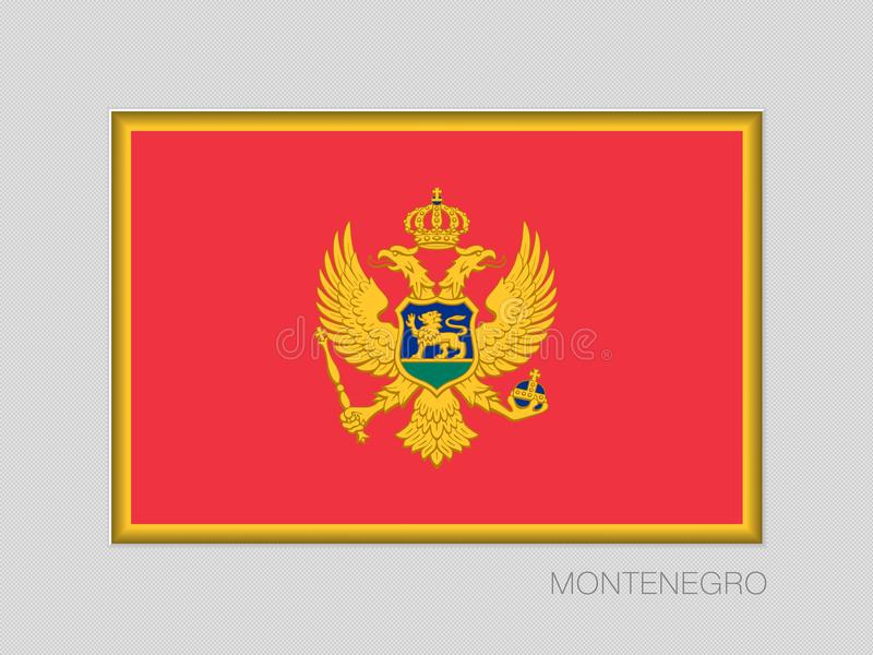 Flag of Montenegro. National Ensign Aspect Ratio 2 to 3 on Gray. Cardboard royalty free illustration