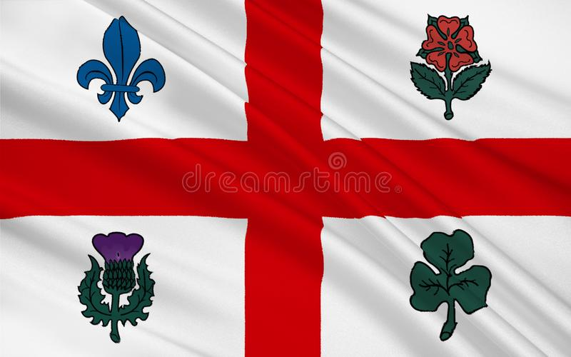 Flag of Montreal Quebec, Canada. Flag of Montreal is the most populous city in the province of Quebec. It is the second most populous municipality in Canada royalty free illustration