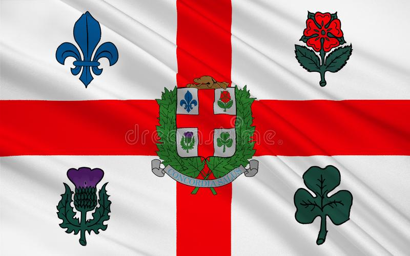 Flag of Montreal Quebec, Canada. Flag of Montreal is the most populous city in the province of Quebec. It is the second most populous municipality in Canada vector illustration