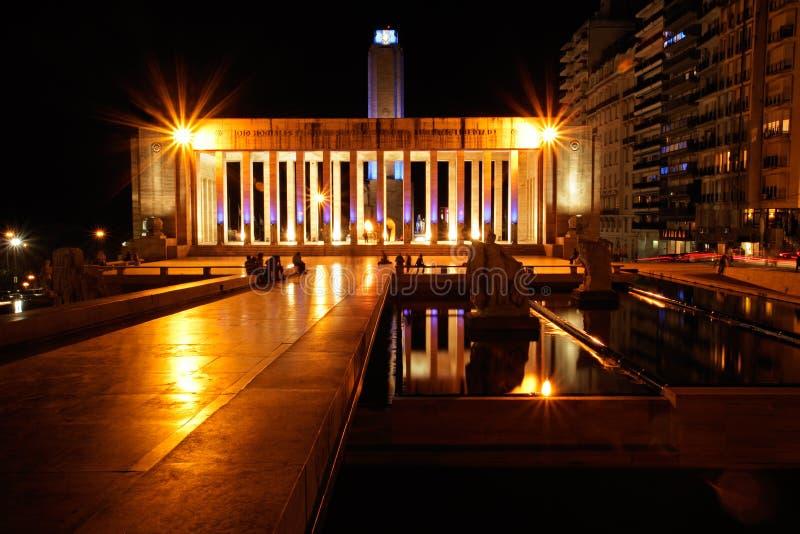 Flag monument, Rosario. The historic flag monument (Monumento Nacional a la Bandera) in the city of Rosario, Argentina, at night stock image