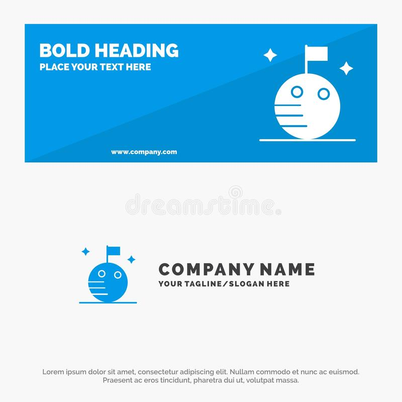 Flag, Moon, Space SOlid Icon Website Banner and Business Logo Template stock illustration