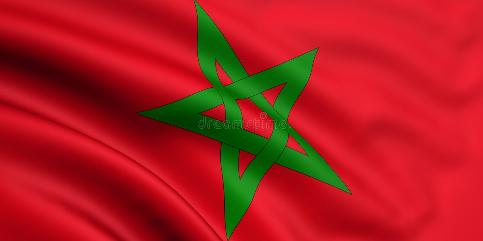 Flag Of Morocco. 3d rendered and waving flag of morocco