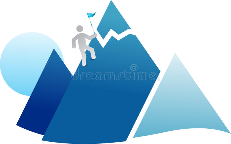 Download Flag on mountain stock vector. Illustration of moving - 18550416