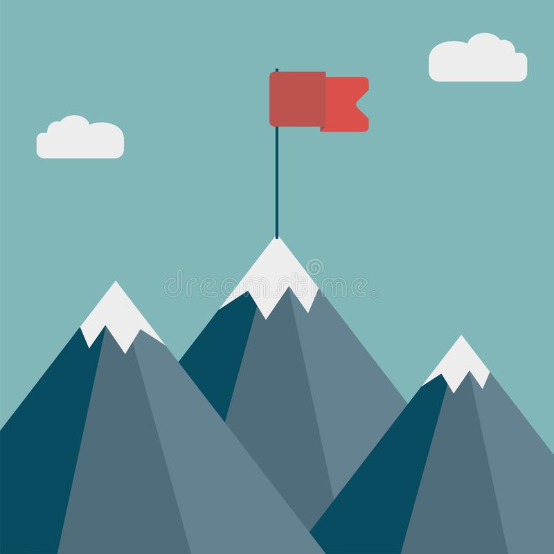 Flag on mountain. Goal achievement. Business success concept. Winning of competition or triumph design. Vector illustration royalty free illustration