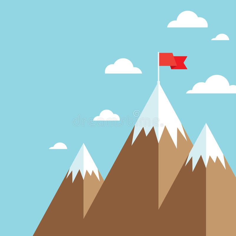 Flag on mountain success goal achievement. Mountain peak with flag as metaphor of businessman top performance, leadership achievement and success competition stock illustration