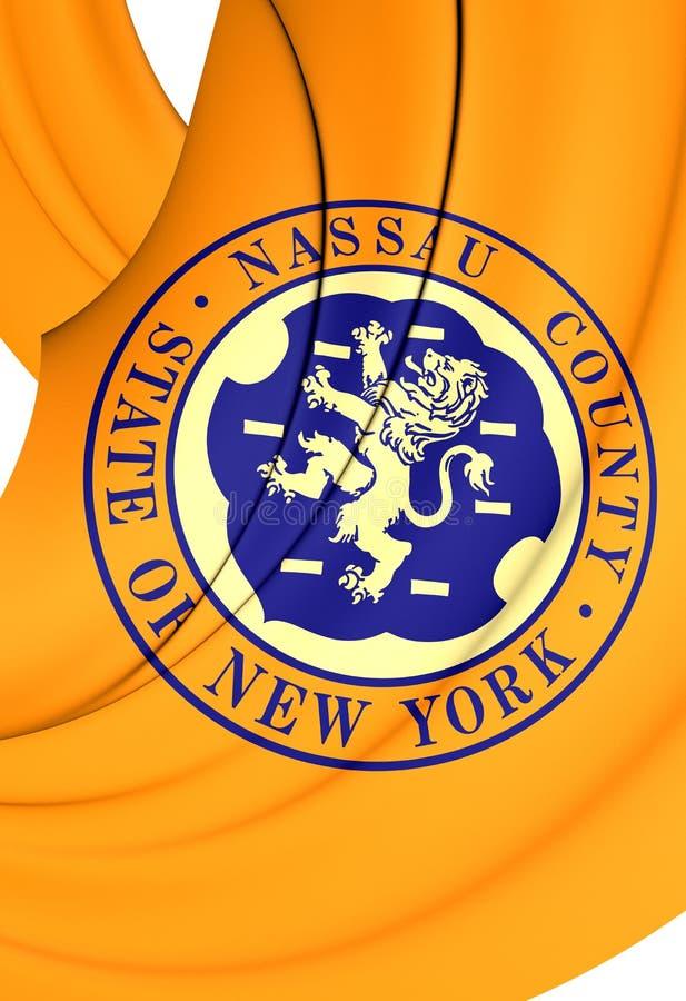 Flag of Nassau County, New York. 3D Flag of Nassau County, New York. Close Up royalty free illustration