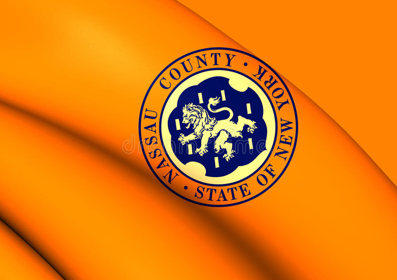Flag of Nassau County, New York. 3D Flag of Nassau County, New York. Close Up stock illustration