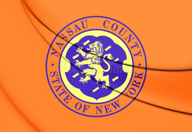 Flag of Nassau County New York, USA. 3D Flag of Nassau County New York, USA stock illustration