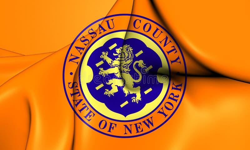 Flag of Nassau County New York, USA. 3D Illustration stock illustration