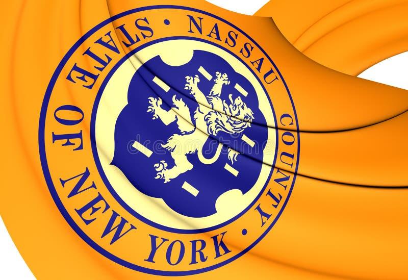 Flag of Nassau County, USA. 3D Flag of Nassau County, USA. Close Up vector illustration