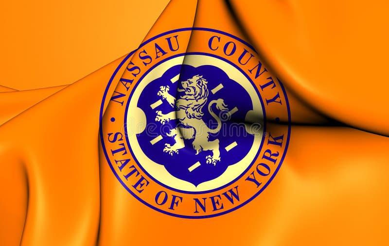 Flag of the Nassau County, USA. 3D Flag of the Nassau County, USA. Close Up royalty free illustration