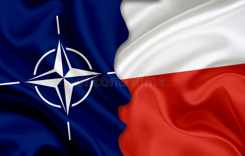 Flag of NATO and flag of Poland. On woven fabric texture vector illustration