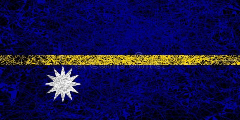 Flag of Nauru. Illustration in grunge style royalty free illustration