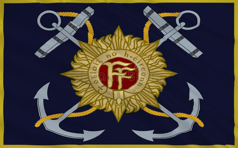 Flag Irish Naval Service. Flag Naval Service of Ireland, also known as the Republic of Ireland, is a sovereign state in north-western Europe occupying about five royalty free illustration