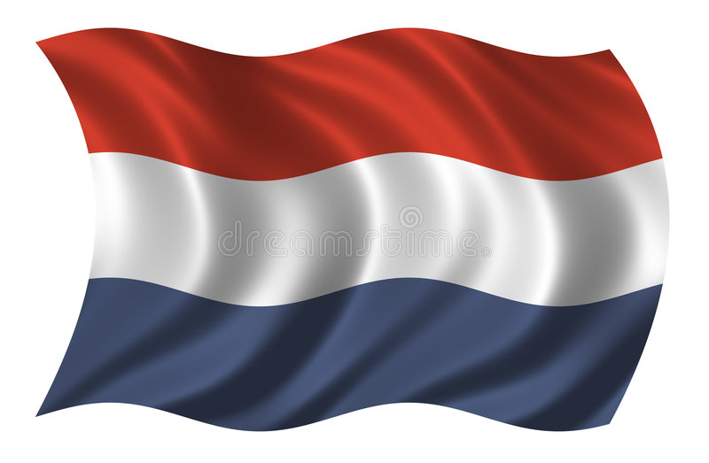 Flag of the Netherlands. Waving in the wind stock illustration