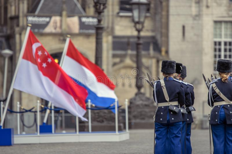 Flag Of The Netherlands And Singapore When The President Of Singapore Visited At Amsterdam The Netherlands 21-11-2018.  stock photos
