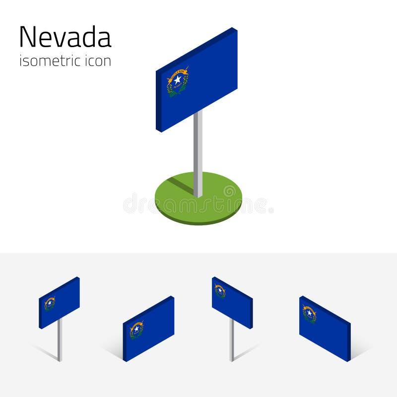 Flag of Nevada USA, vector 3D isometric flat icons stock illustration