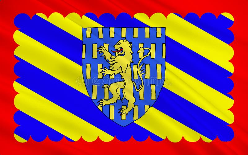 Flag of Nevers, France. Flag of Nevers is the prefecture of the Nievre department in the Bourgogne-Franche-Comte region in central France stock illustration