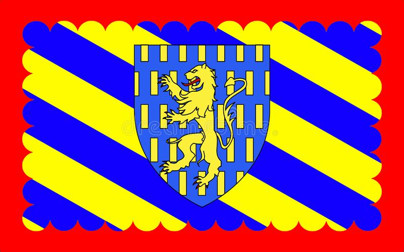 Flag of Nevers, France. Flag of Nevers is the prefecture of the Nievre department in the Bourgogne-Franche-Comte region in central France vector illustration