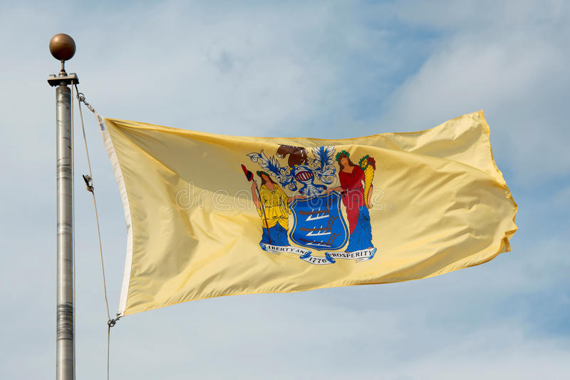 Flag of New Jersey, Trenton, NJ, USA. Flag of New Jersey in front of New Jersey State House, Trenton, New Jersey, USA stock images