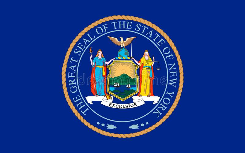 Flag of New York, USA. Flag of New York is a state in the Northeastern United States stock photos