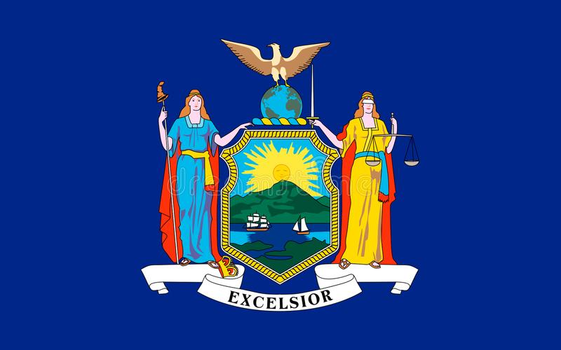 Flag of New York, USA. Flag of New York is a state in the Northeastern United States stock photography