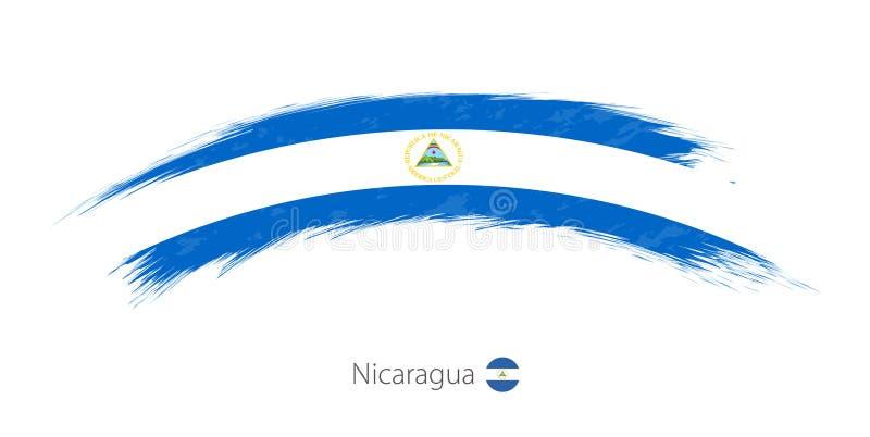 Flag of Nicaragua in rounded grunge brush stroke. Vector illustration royalty free illustration