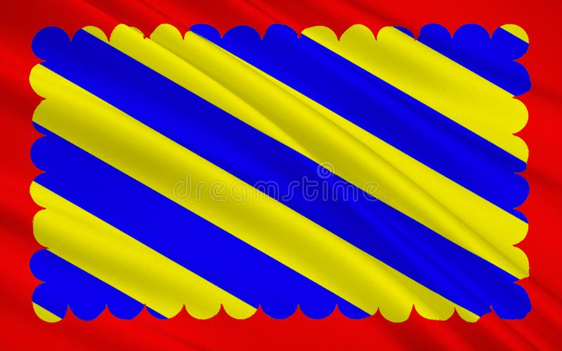 Flag of Nievre. Is a department in the region of Burgundy in the centre of France named after the River Nievre royalty free illustration