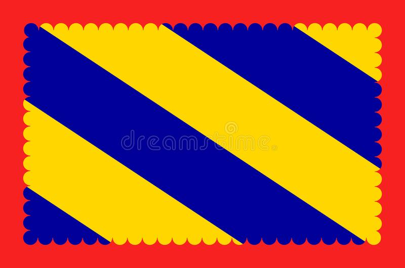 Flag of Nievre in Burgundy, France. Flag of Nievre is a department in the region of Burgundy in the centre of France named after the River Nievre. Vector vector illustration