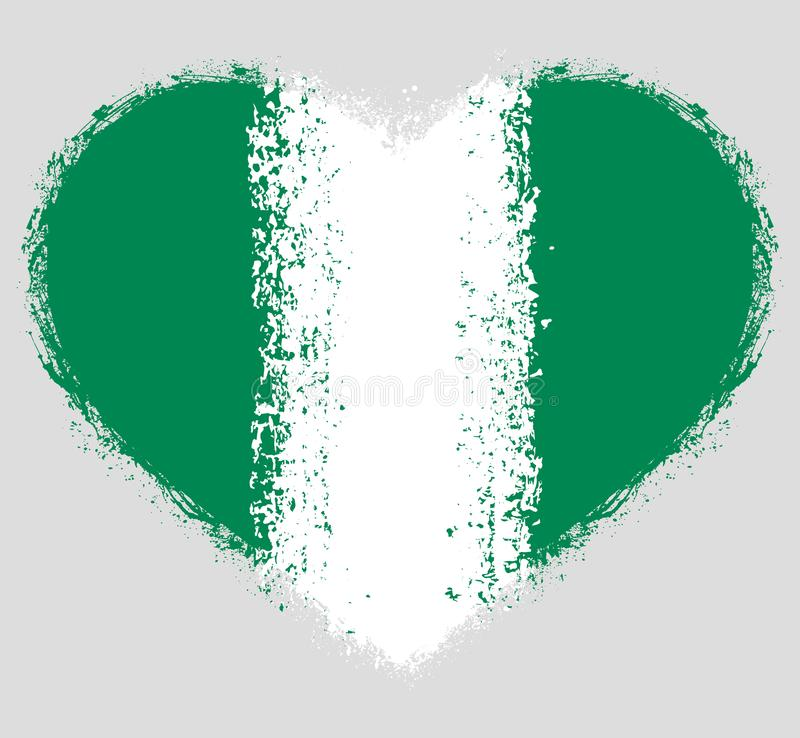 Flag of Nigeria on Grunge Heart stock photography