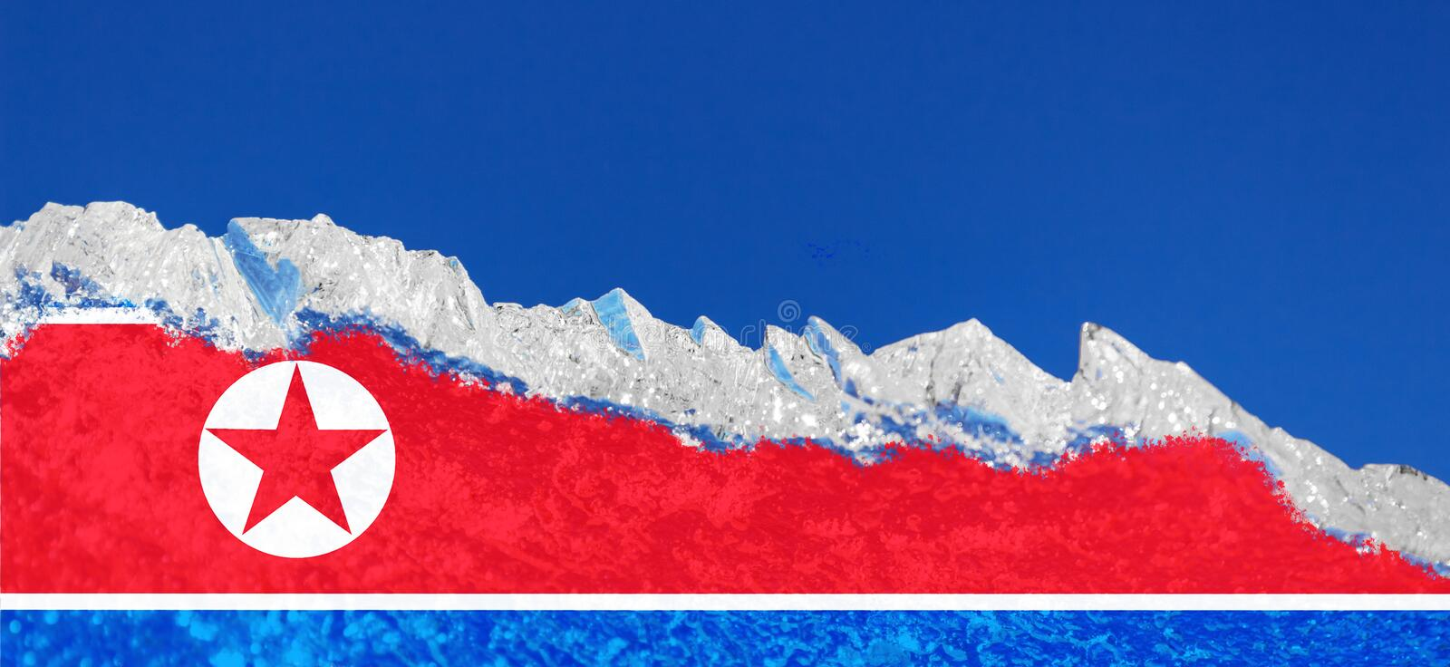 The flag of North Korea is painted on piece of ice in the form of an arctic iceberg against a blue sky. Closed policy, cold war. The flag of North Korea is stock image