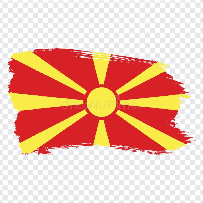 Flag North Macedonia from brush strokes.  Flag  North Macedonia on  transparent background for your web site design, logo, app, UI. Stock vector. Vector vector illustration