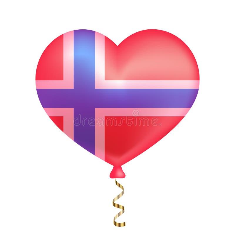Flag of Norway in heart shape. stock illustration