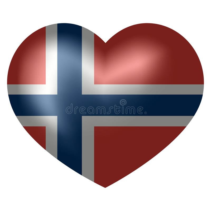 Flag of Norway in heart shape. vector illustration. vector illustration