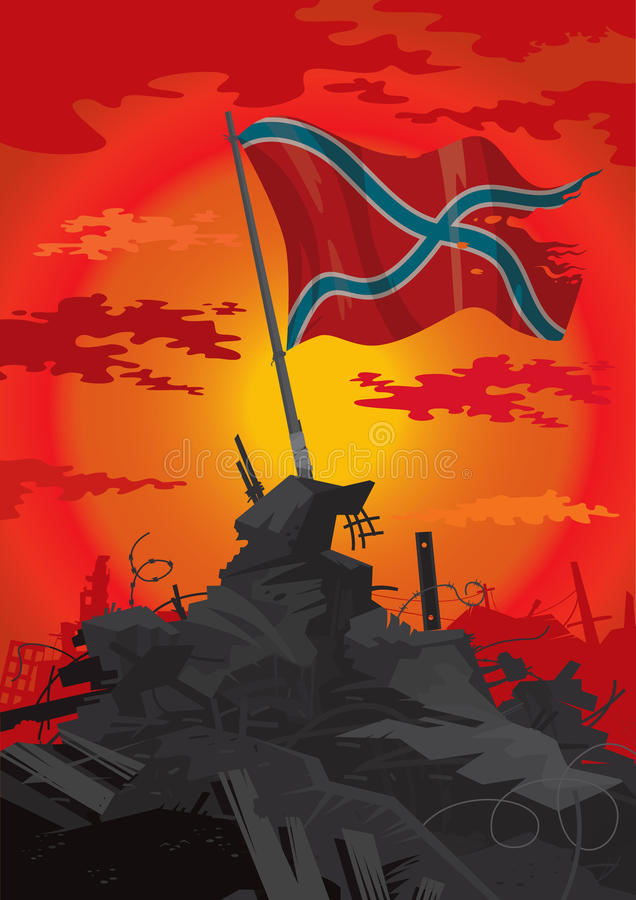 Flag of Novorossia. Flag on the ruins of the civil war vector illustration