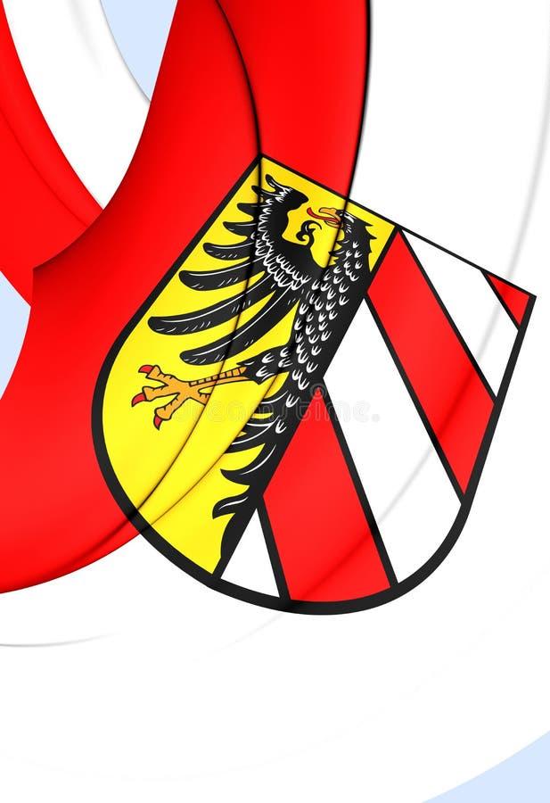 Flag of Nuremberg City, Germany. 3D Flag of Nuremberg City, Germany. Close Up royalty free illustration
