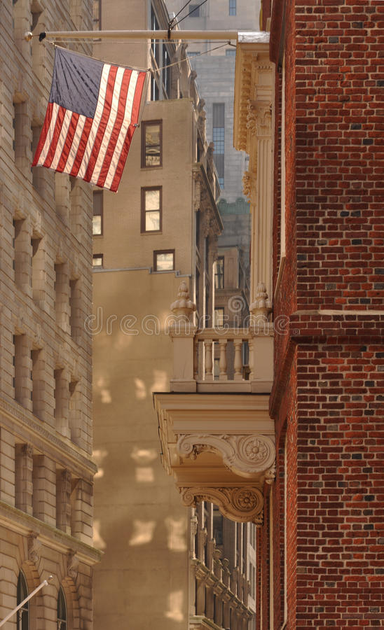 Flag and office buildings in Boston royalty free stock photo